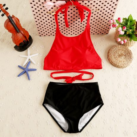 Retro Two Piece Women's Swimwear, High Waist Swimsuit, Sexy Swimwear Push Up Crop Top, High Neck Bikini Set Retro Bathing Suit 4