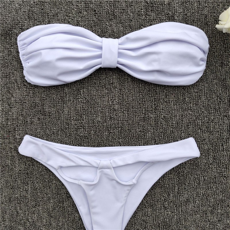 Micro Sexy Bikini, 2019 High Cut Thong Swimsuit, Female Swimwear, White Brazilian Bandeau Beachwear 29