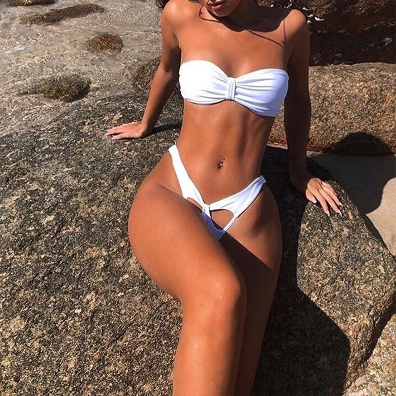 Micro Sexy Bikini, 2019 High Cut Thong Swimsuit, Female Swimwear, White Brazilian Bandeau Beachwear 17