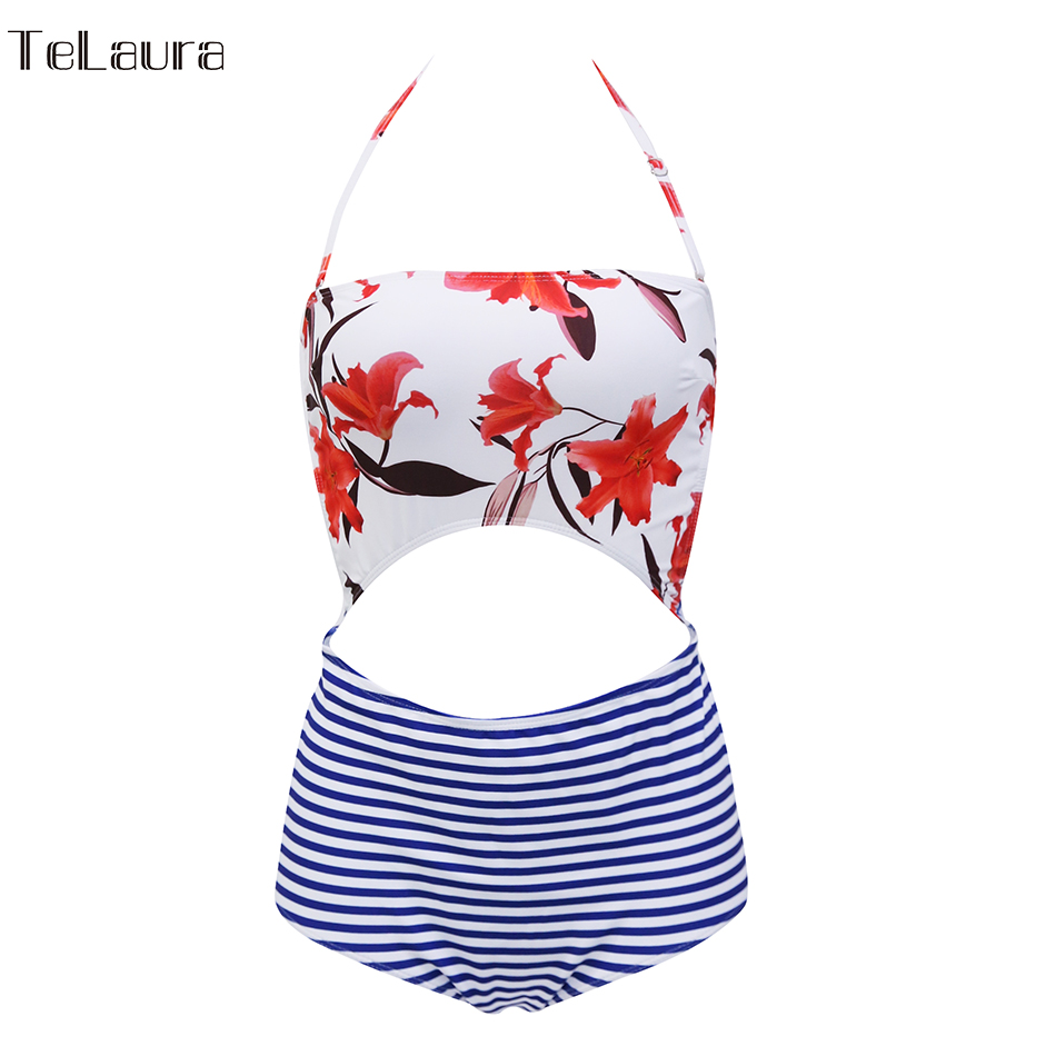 2019 One Piece Swimsuit, Women's Monokini Halter Bodysuit, Bandage Swimsuit, Hollow Out High Waist Bathing Suit 24