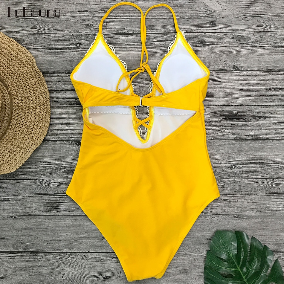 2019 Sexy Lace One Piece Swimsuit, Women's Monokini Bandage Bodysuit Beach Wear Bathing Suit 20