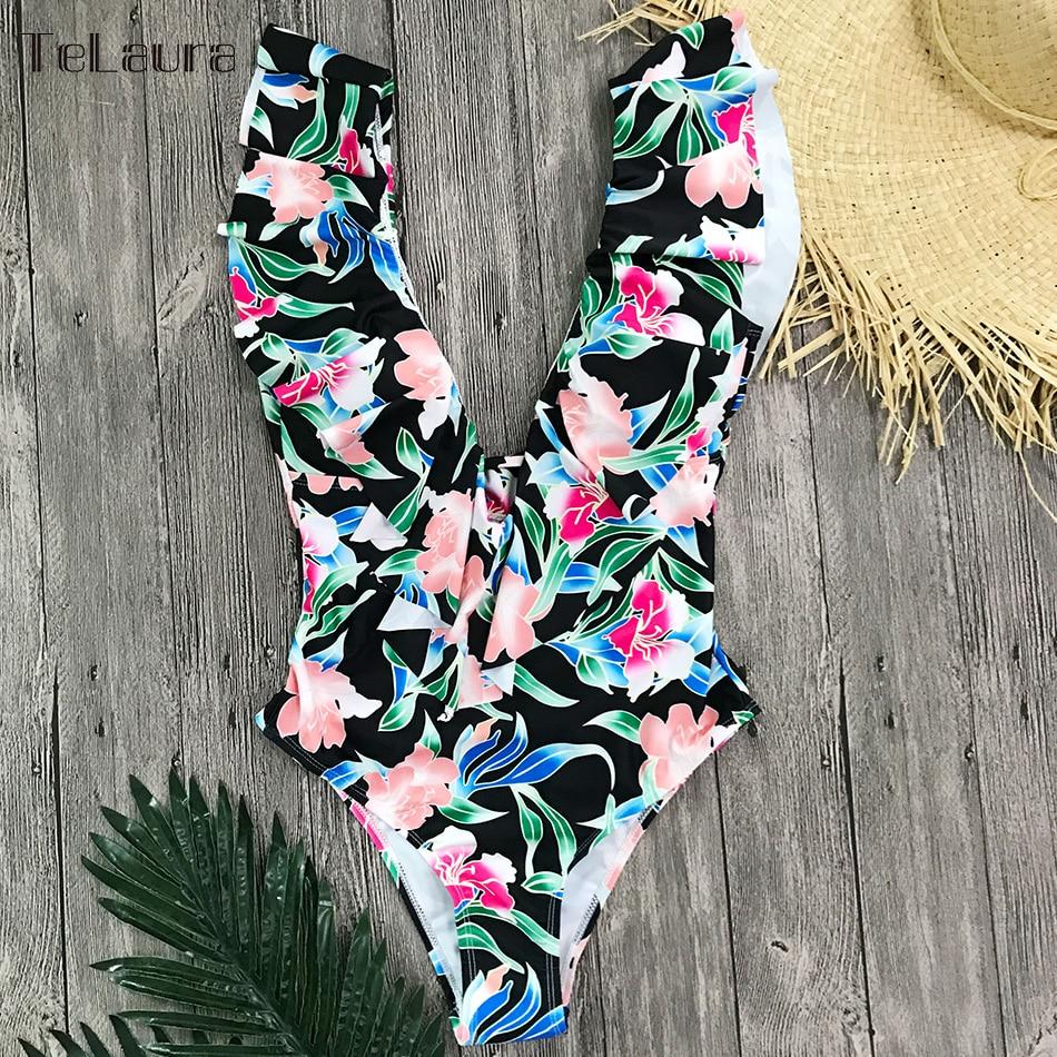 Sexy Ruffle One Piece Swimsuit, Women's Swimwear, Monokini Bodysuit Print Swim Suit, Backless Bathing Suit Beach Wear 31