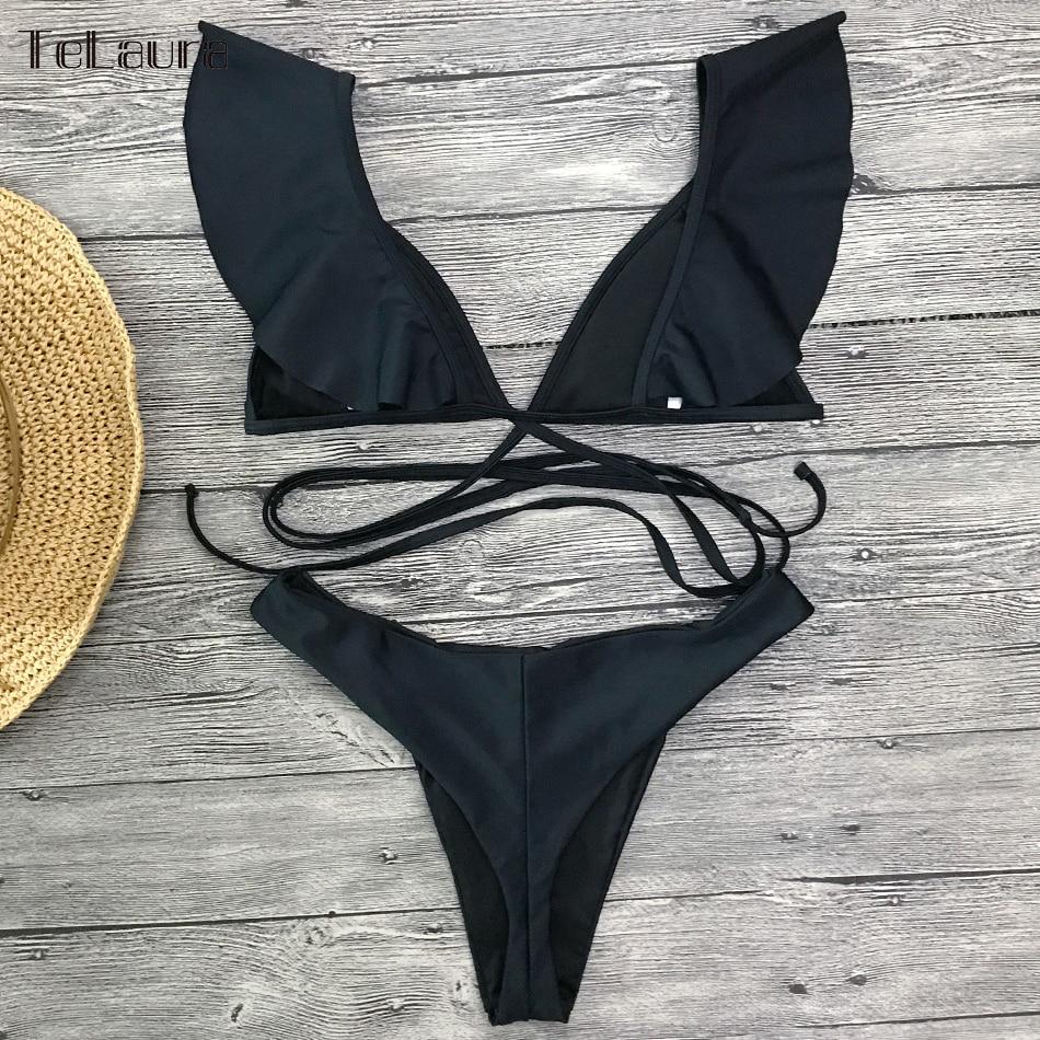 2019 Sexy Bikini Swimwear, Women's Swimsuit, Push Up Bikinis, Women's Biquini Bathing Suit, Ruffle Swimsuit 16