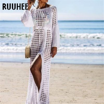 Lace Cover-Up, Women's Swimsuit Knitted, Summer Crochet See-through Hollow Beach Dress Tunic
