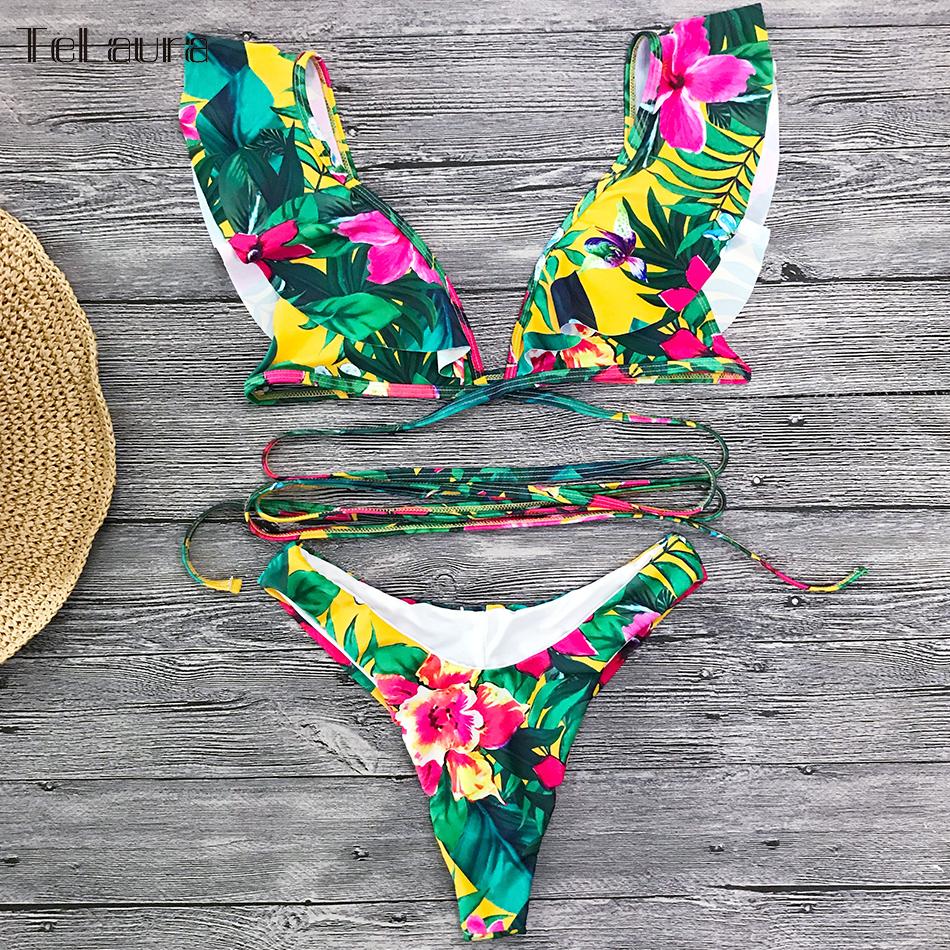 2019 Sexy Bikini Swimwear, Women's Swimsuit, Push Up Bikinis, Women's Biquini Bathing Suit, Ruffle Swimsuit 13