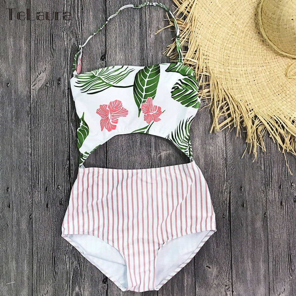 2019 One Piece Swimsuit, Women's Monokini Halter Bodysuit, Bandage Swimsuit, Hollow Out High Waist Bathing Suit 20