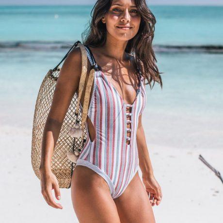 2019 Sexy One Piece Swimsuit Push Up Swimwear Women Monokini Bodysuit Striped Swim Suit Female Bathing Suits Summer Beach Wear