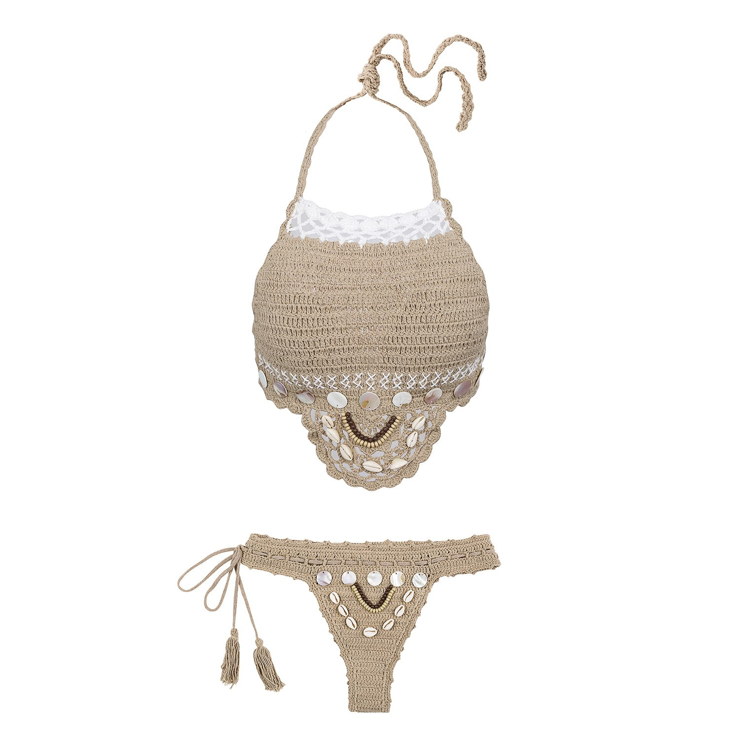 Handmade Crochet Bikinis, 2019 Sexy Tassel Swimsuit,Women's Shell Decorated Swimwear, High Neck 2 Piece Suit 20