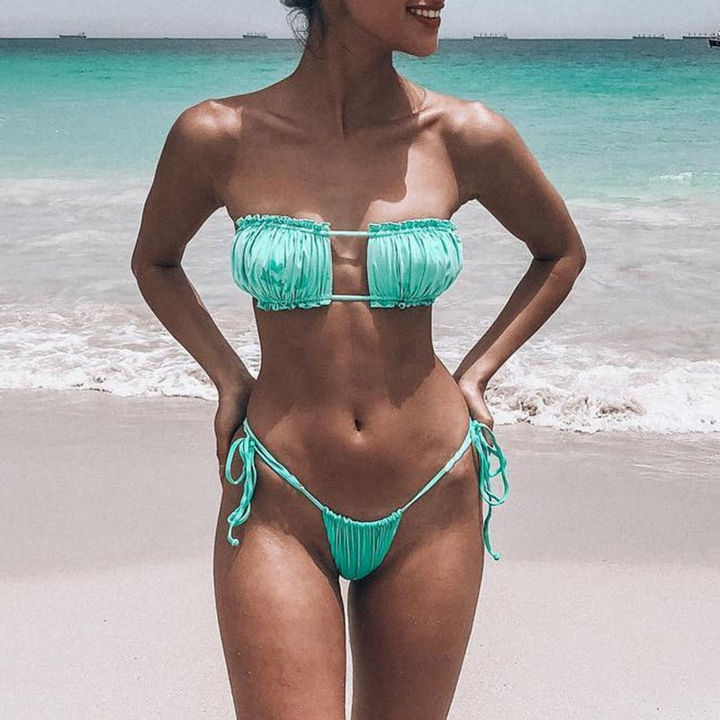 Sexy Micro Bikini, 2019 Ruffle Brazilian Swimsuit, Women's String Bandeau Swimwear, High Cut Bikini 14