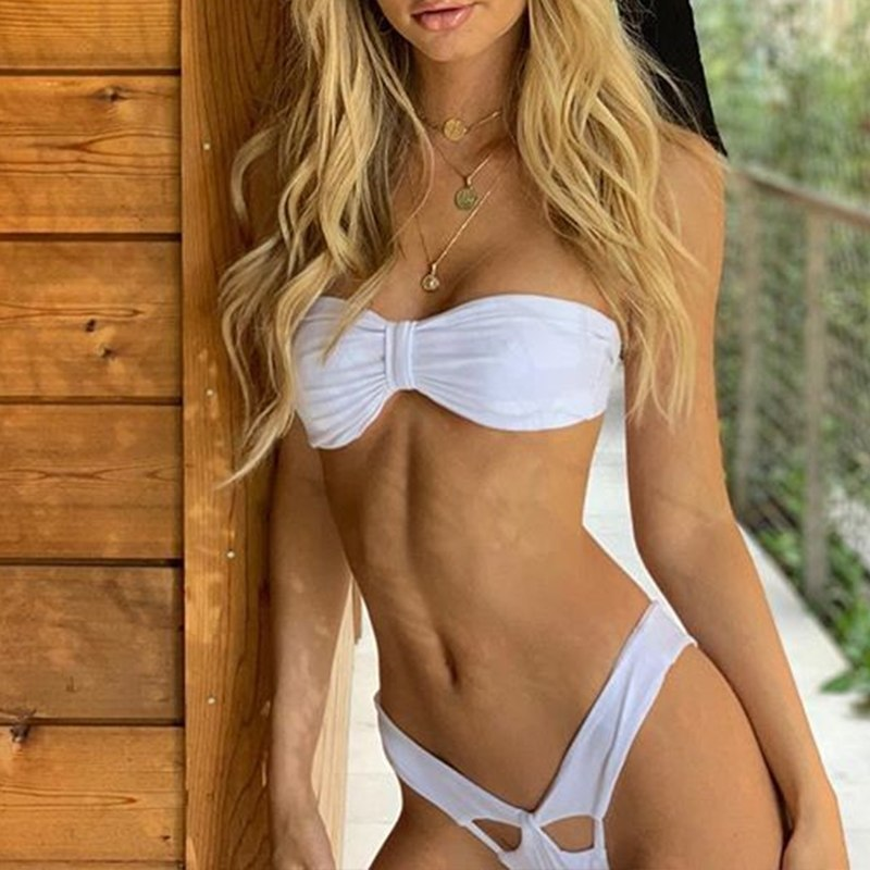Micro Sexy Bikini, 2019 High Cut Thong Swimsuit, Female Swimwear, White Brazilian Bandeau Beachwear 21