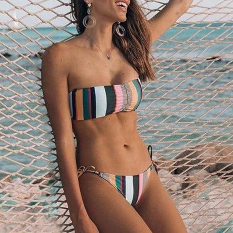 Bandeau Bikini, 2019 Striped, Strapless, Push Up Swimwear, Women's Tie Side Bathing Suit 1