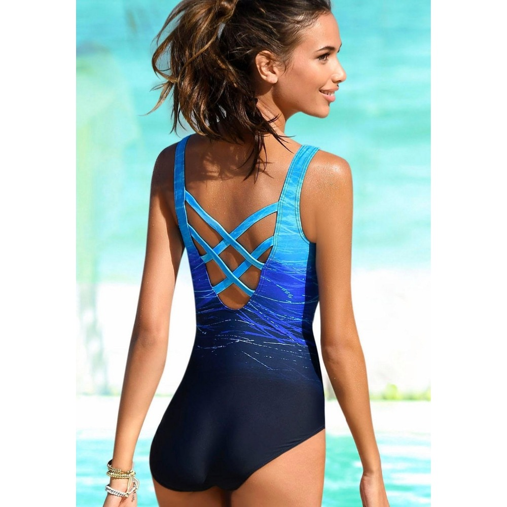 One Piece Swimsuit, Women's Bandage Vintage Beach Wear, Solid Bathing Suit, Monokini Retro Swimsuit 13