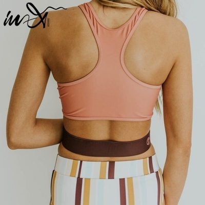 2019 Retro High Neck 2 Piece Crop Top, Women's Striped Bathing Suit