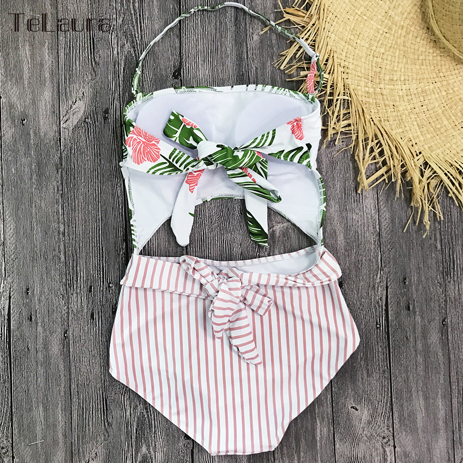2019 One Piece Swimsuit, Women's Monokini Halter Bodysuit, Bandage Swimsuit, Hollow Out High Waist Bathing Suit 21