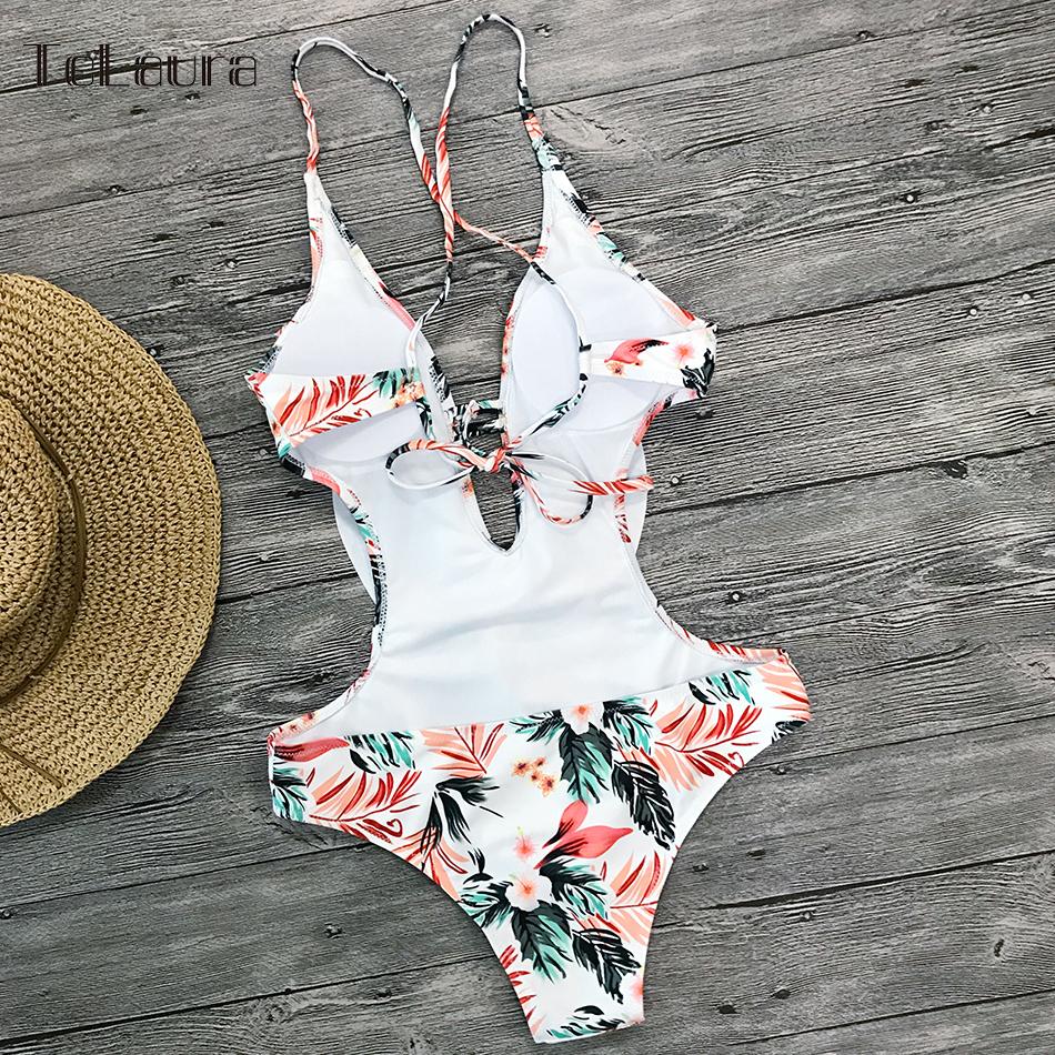 Sexy Ruffle One Piece Swimsuit, Women's Swimwear, Monokini Bodysuit Print Swim Suit, Backless Bathing Suit Beach Wear 51