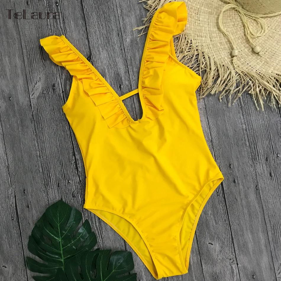 Sexy Ruffle One Piece Swimsuit, Women's Swimwear, Monokini Bodysuit Print Swim Suit, Backless Bathing Suit Beach Wear 35