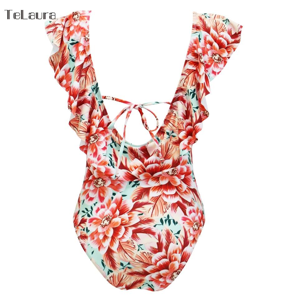 Sexy Ruffle One Piece Swimsuit, Women's Swimwear, Monokini Bodysuit Print Swim Suit, Backless Bathing Suit Beach Wear 40