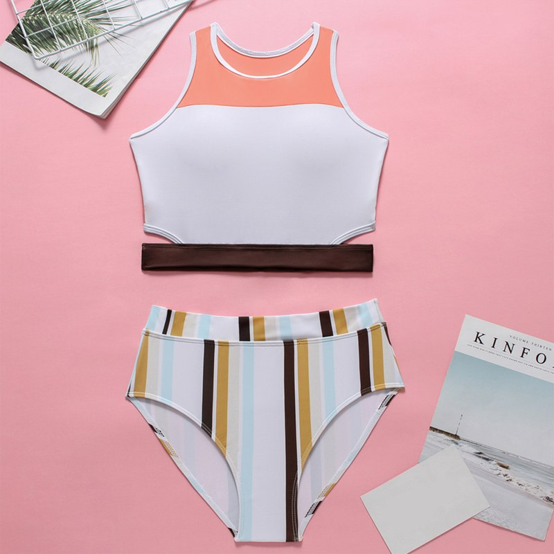 2019 High Neck 2 Piece Crop Top, Women's Striped Bathing Suit 30