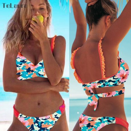 2019 New Sexy Bikini Swimwear, Women's Floral Brazilian Bikini, Biquinis Summer Beach Wear 2