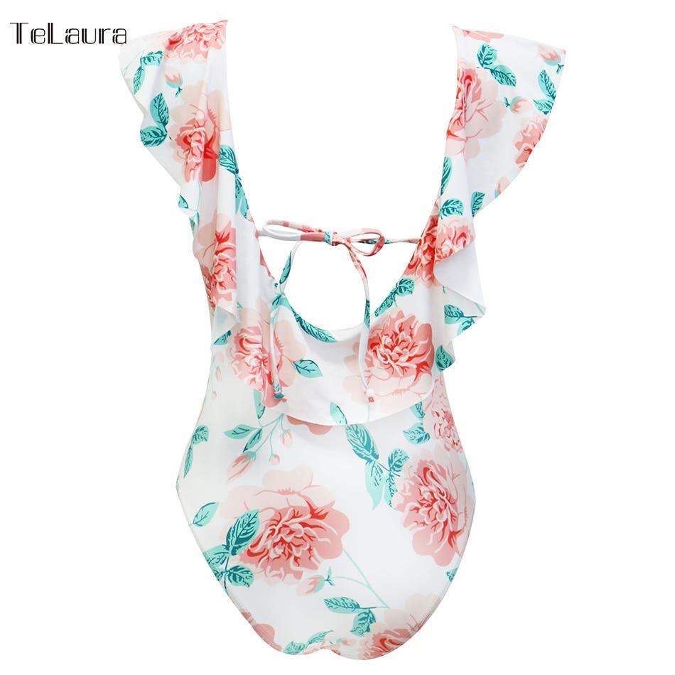 Sexy Ruffle One Piece Swimsuit, Women's Swimwear, Monokini Bodysuit Print Swim Suit, Backless Bathing Suit Beach Wear 44