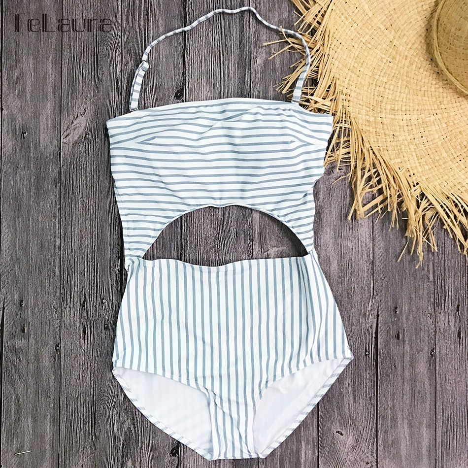 2019 One Piece Swimsuit, Women's Monokini Halter Bodysuit, Bandage Swimsuit, Hollow Out High Waist Bathing Suit 35