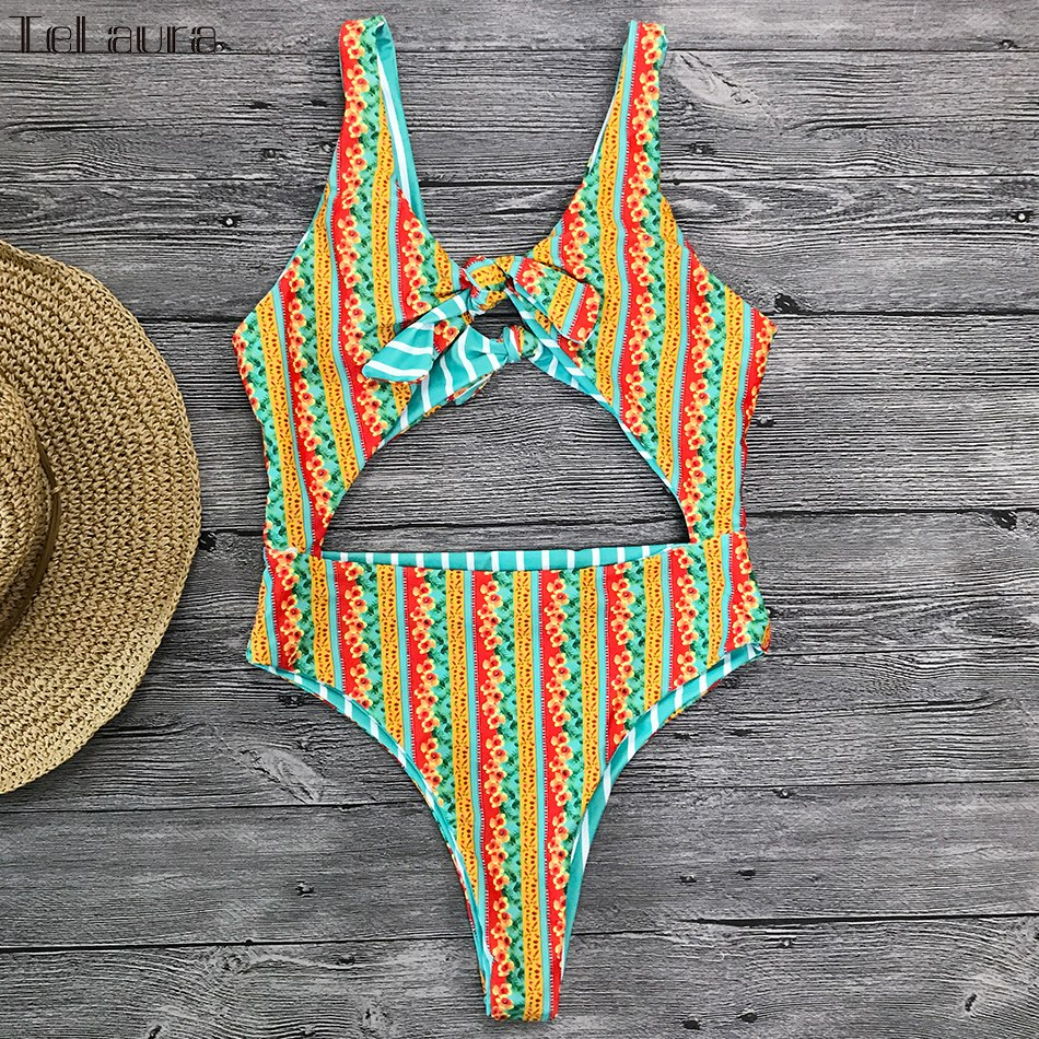 2019 One Piece Swimsuit, Women's Monokini Halter Bodysuit, Bandage Swimsuit, Hollow Out High Waist Bathing Suit 7