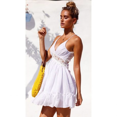 2019 Newest Ladies Cover-Up, V Neck Swimwear Cover Up, Lace Hollow Crochet Swimsuit Beach Dress, Women's Bathing Suit Beach Cover Up 3