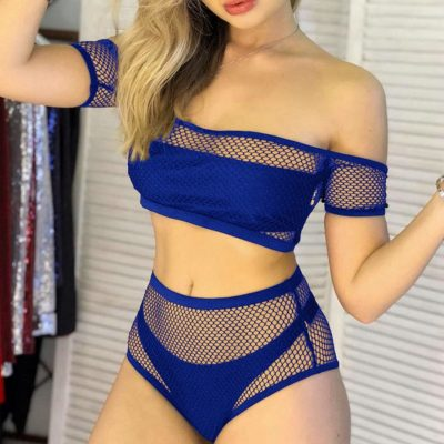 New 2019 Mesh High Waist Bikini, Off Shoulder Swimsuit, Female Push Up Sexy Bathing Suit, Bandeau Bikini Set