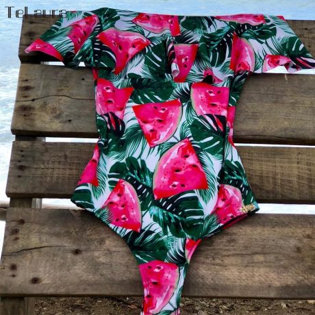 2019 Sexy Ruffle One Piece Swimsuit, Women's Monokini Off Shoulder Swim Suit 2