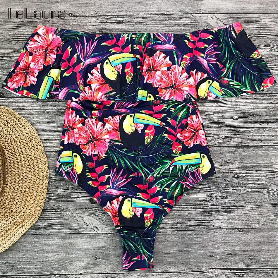 2019 Sexy Ruffle One Piece Swimsuit, Women's Monokini Off Shoulder Swim Suit 24