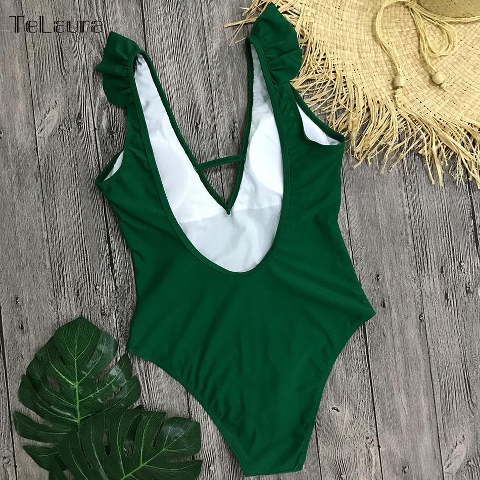 Sexy Ruffle One Piece Swimsuit, Women's Swimwear, Monokini Bodysuit Print Swim Suit, Backless Bathing Suit Beach Wear 38
