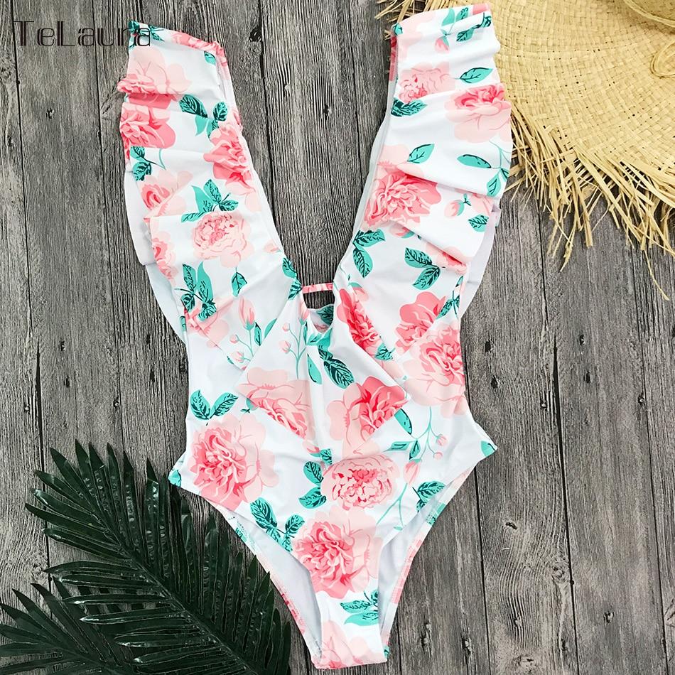 Sexy Ruffle One Piece Swimsuit, Women's Swimwear, Monokini Bodysuit Print Swim Suit, Backless Bathing Suit Beach Wear 29