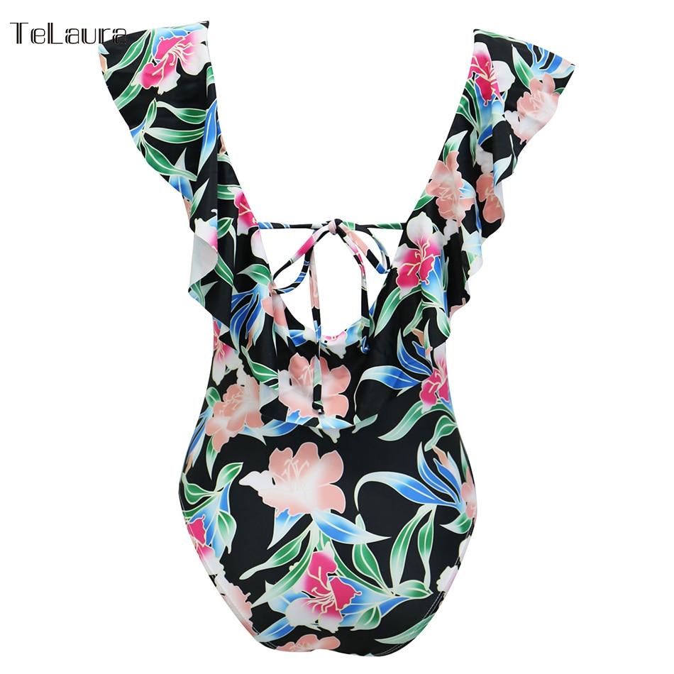 Sexy Ruffle One Piece Swimsuit, Women's Swimwear, Monokini Bodysuit Print Swim Suit, Backless Bathing Suit Beach Wear 42