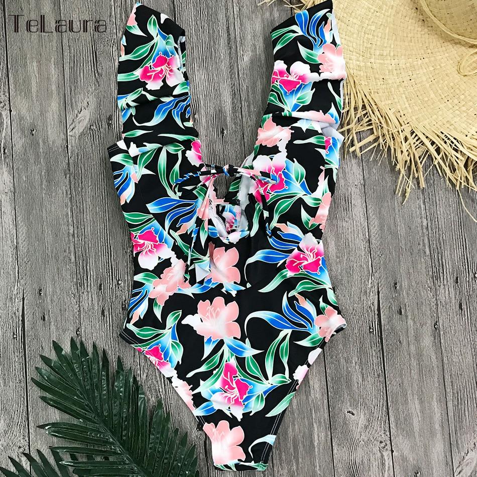 Sexy Ruffle One Piece Swimsuit, Women's Swimwear, Monokini Bodysuit Print Swim Suit, Backless Bathing Suit Beach Wear 32