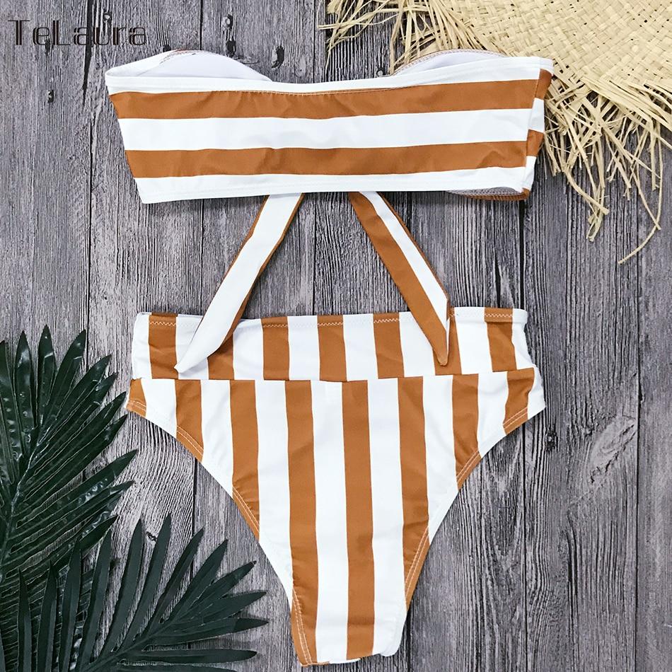 Sexy High Waist Bikini, Women's Swimsuit Bandeau Bikinis Set, Biquini Beachwear 11
