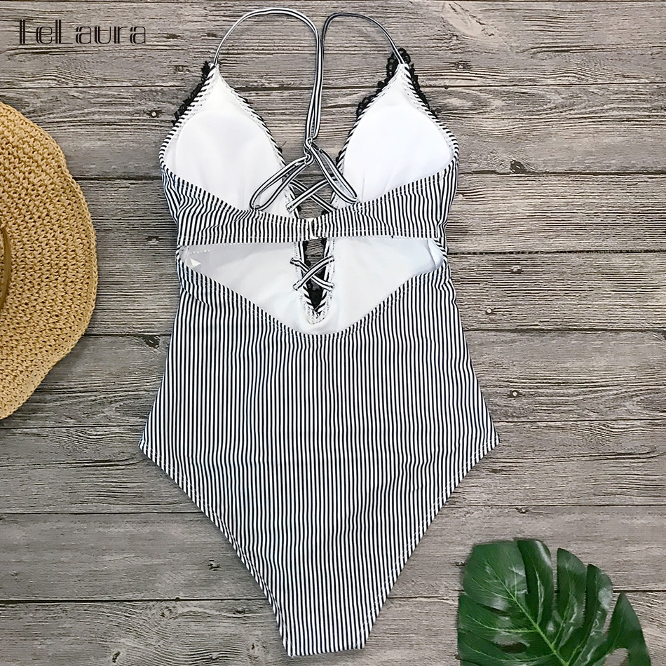 2019 Sexy Lace One Piece Swimsuit, Women's Monokini Bandage Bodysuit Beach Wear Bathing Suit 11