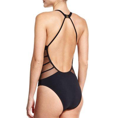 One Piece Transparent Lace Swimsuit,  Sexy Black Backless, Mesh Bandage, Large Bust Swimwear, Brazilian Bathing Suit