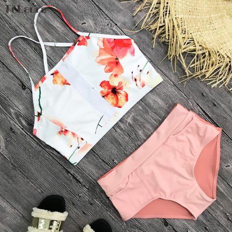 New 2 Piece, High Waist, Bikini Swimwear, Women's Push Up Biquini Bathing Suit, High Neck Women's Summer Beach Wear 5