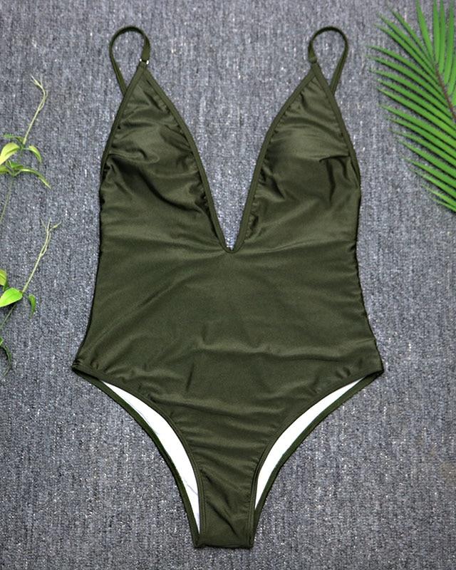 Women's Swimwear, 2019, Sexy One Piece Swimsuit, High Cut Monokini, Deep V Swim Suit, Retro Bodysuit Bathing Suit 14