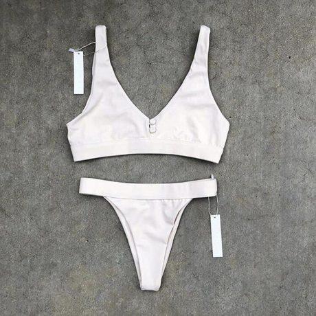 Sexy Bikinis, Solid Push Up Bikini, 2019, Padded Bra Button, Low Waist Thong Swimsuit 5